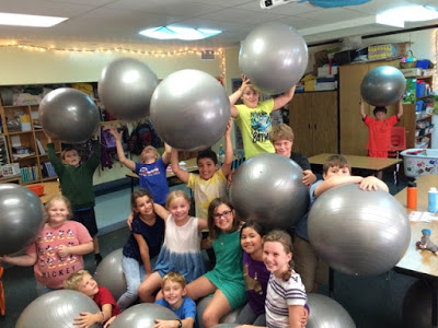 Hemmett Health Provides a Richmond VT 4th Grade Class With Exercise Balls To Foster Movement Breaks and Encourage Exercise